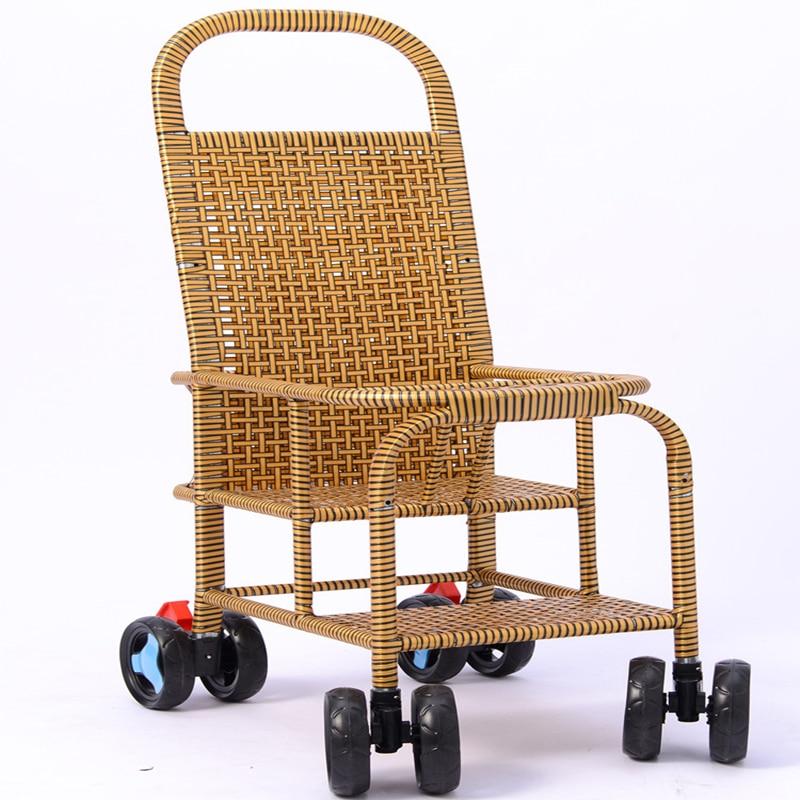 Bamboo Rattan Baby Stroller Portable Baby Rattan Chair Rattan Rattan Imitation Rattan Bamboo Children Summer Stroller