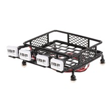 Roof Rack Luggage Carrier with Square LED Light Bar for 1/10 RC Car Crawler Truck Axial SCX10 D90 110 Traxxas TRX-4 Tamiya HSP(China)