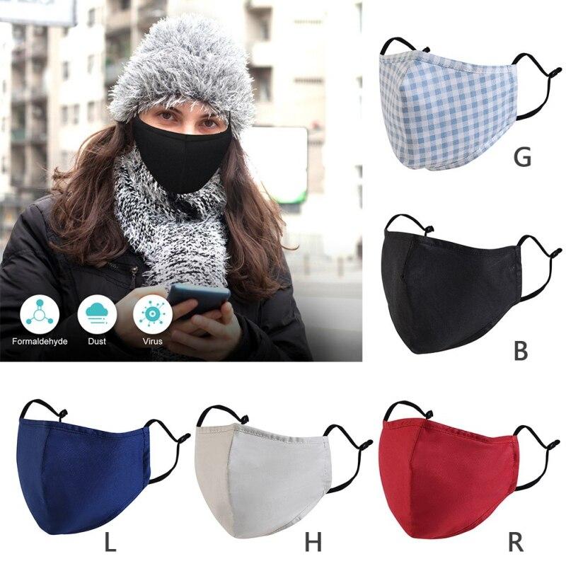 1 шт. детская хлопковая маска для взрослых PM2.5 черная маска для рта Пылезащитная маска + фильтр для лица PM2.5