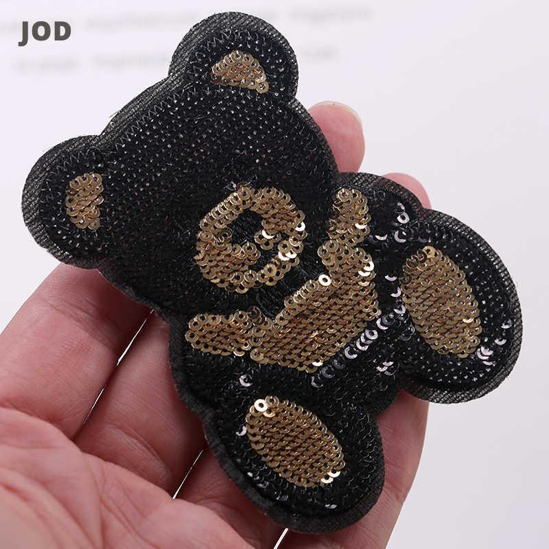 블랙 골드 귀여운 곰 자수 패치 스팽글 패치에 큰 철 의류 배지에 대한 applique 의류 재킷에 패브릭 스티커