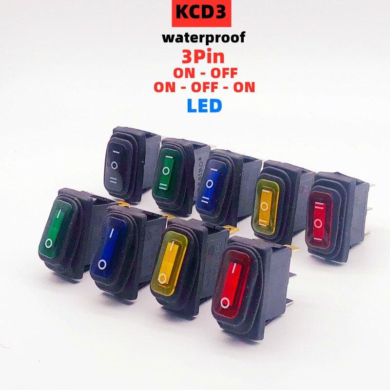 KCD3 interruttore a bilanciere impermeabile ON-OFF/ON-OFF-ON 3pin apparecchiature elettriche con illuminazione LED interruttore 15A 250VAC/20A 125VAC