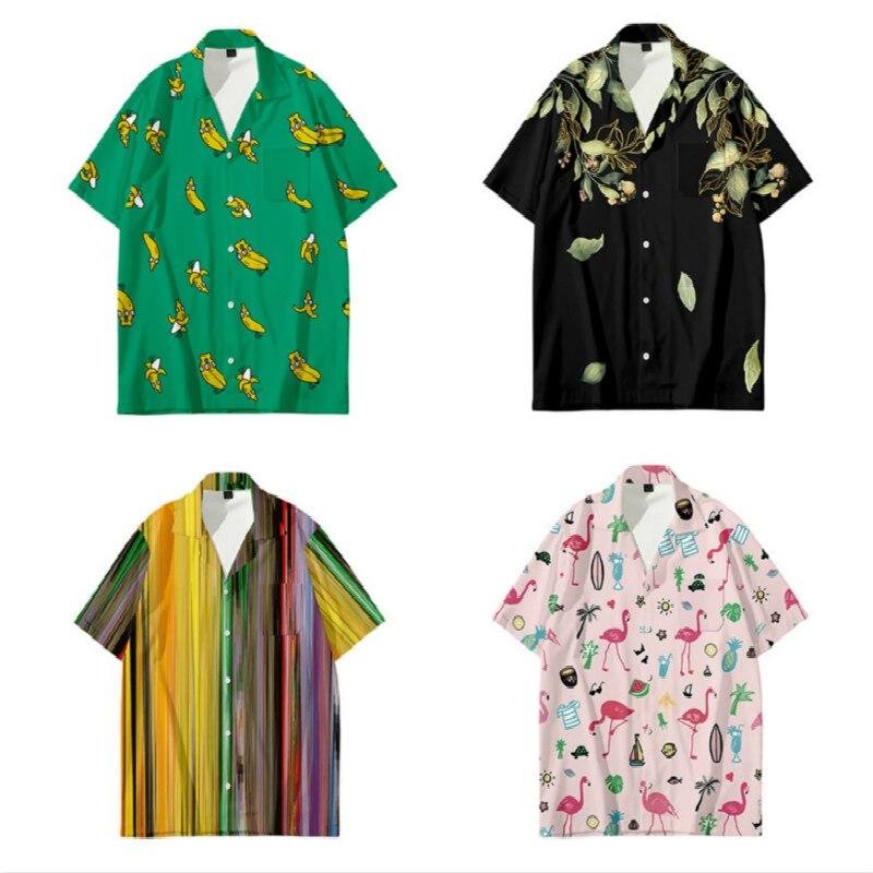 Hawaiian Beach Men's Top Short SleeveFloral Shirt Short Sleeve Men Loose Plus-size Hip-hop Banana Shirt Men Shortsleeve Shirt