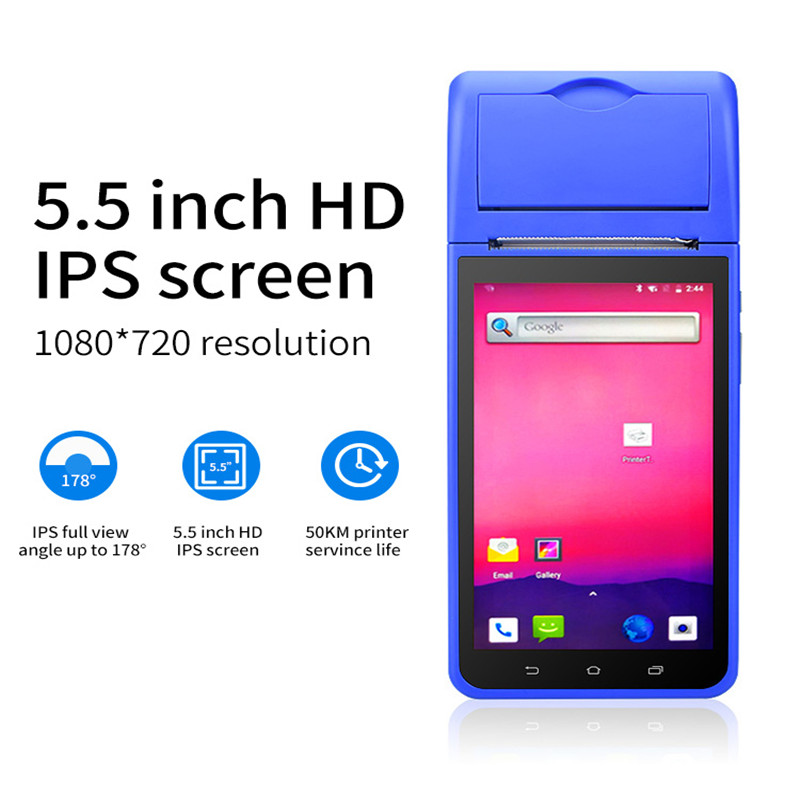 New Design Android Handheld Pos PDA Built-in 58mm Printer With 5.5 Inch Touch Screen