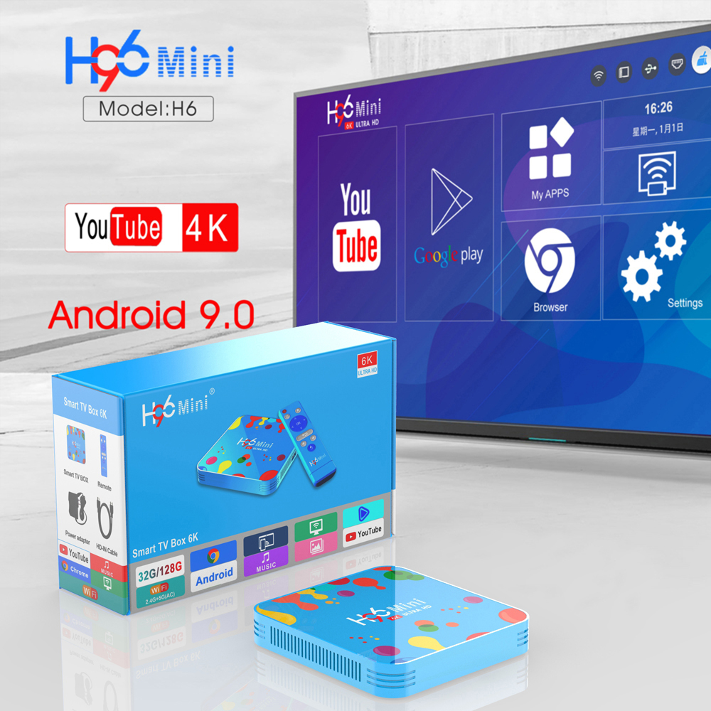 4GB 128GB H96 Mini Android 9.0 TV Box Allwinner H6 Quad Core 6K H.265 Wifi HD Google lecteur Youtube décodeur 4GB 32GB H96 Max - 2