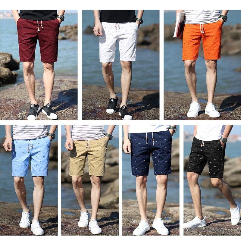 Pure Cotton Fishbone Shorts Men 5 Short Casual Sports Pants Summer Loose-Fit Beach Shorts