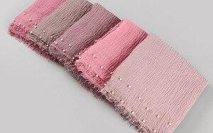 Image 5 - Bufanda lisa de hiyab para mujer, pañuelo de algodón de burbujas con cuentas, bandana con flecos, pañuelos musulmanes/bufanda de gran tamaño, 180x95cm