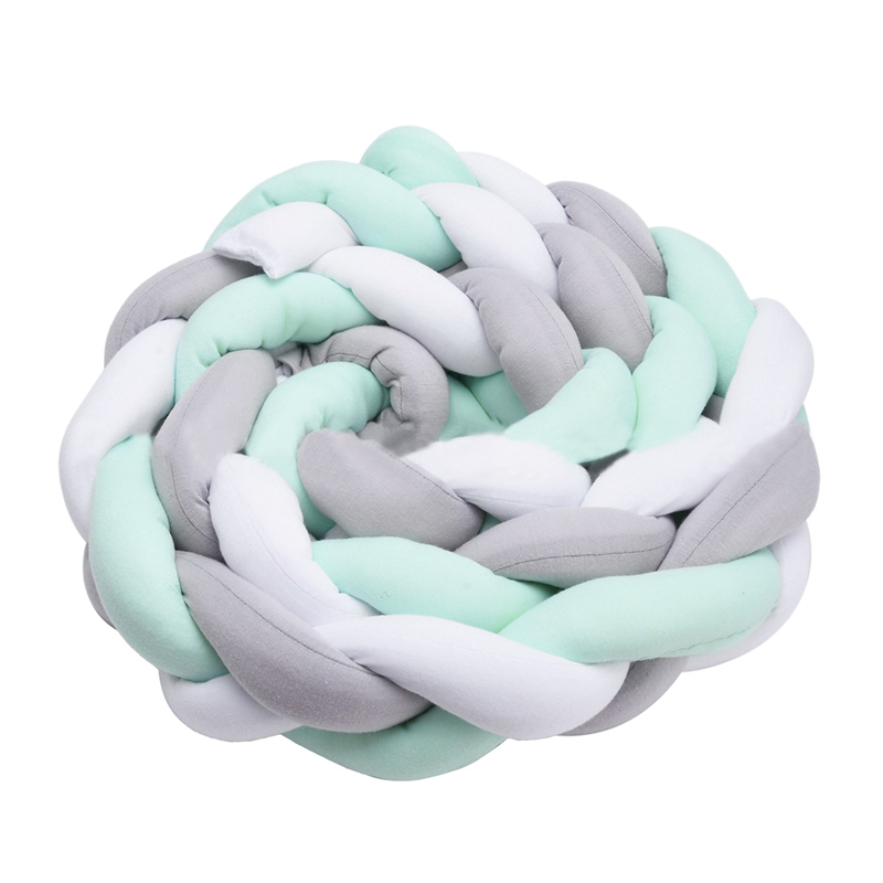 Baby Crib Bumper Knotted Braided Plush Nursery Cradle Decor Newborn Gift Pillow Cushion Junior Bed Sleep Bumper (4 Meters, White