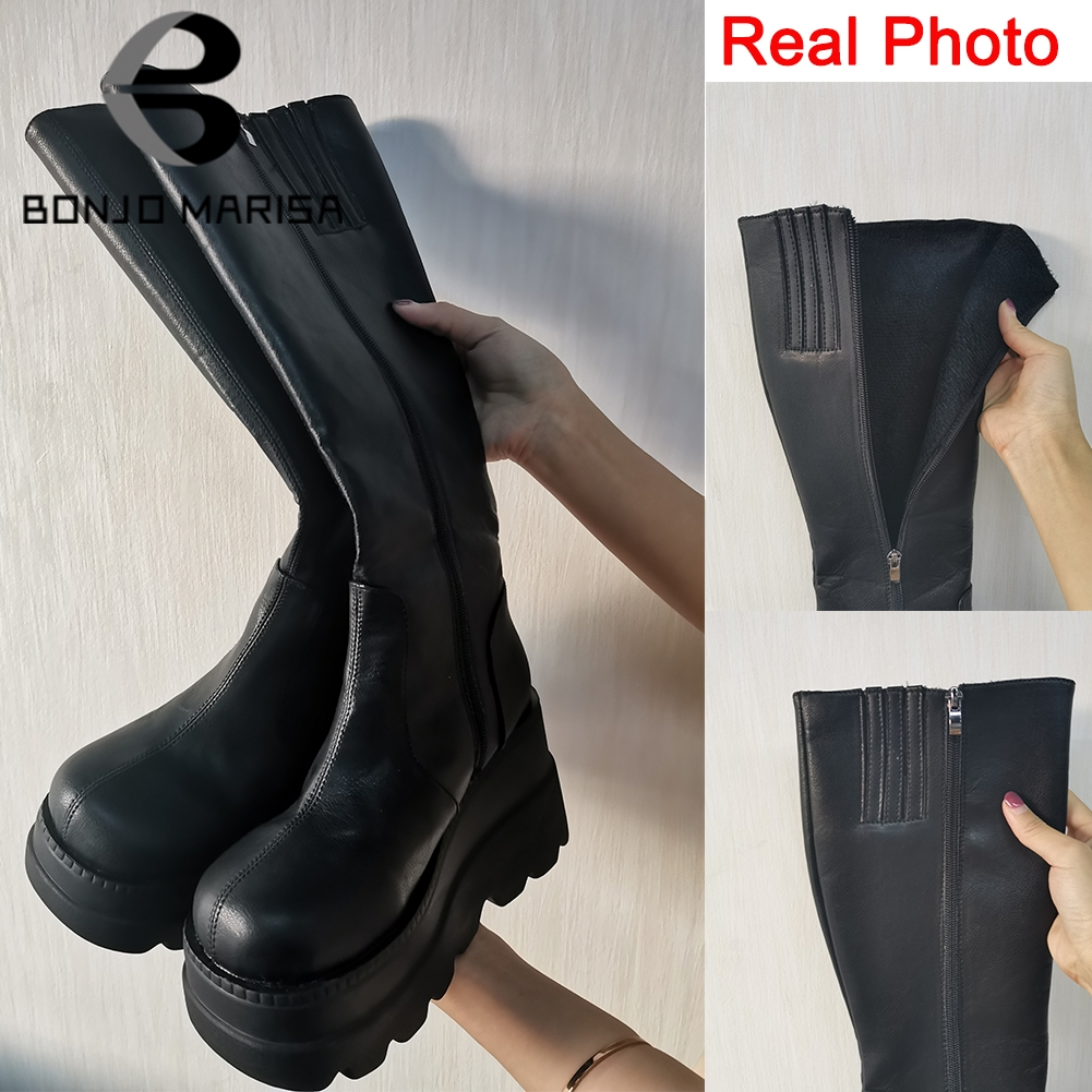 BONJOMARISA ladies fashion platform boots chunky heel wedges mid calf women  boots casual brand thick bottom winter shoes woman