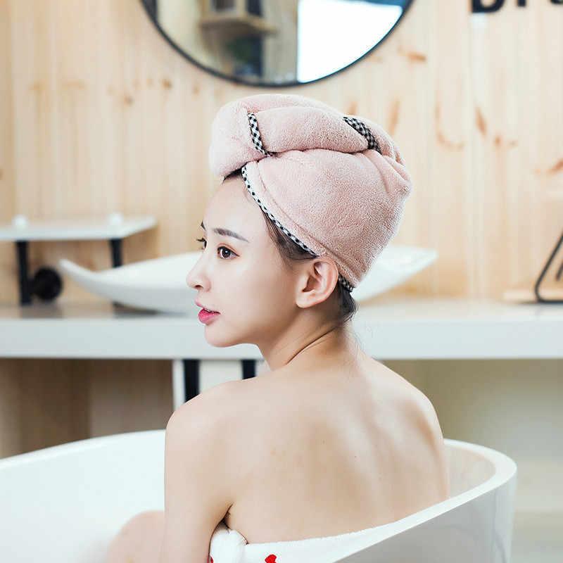 1 قطعة النساء التجفيف السريع الشعر منشفة زائد سميكة ماصة دش قبعة سريعة لينة سبا حمام العملي لوازم الحمام