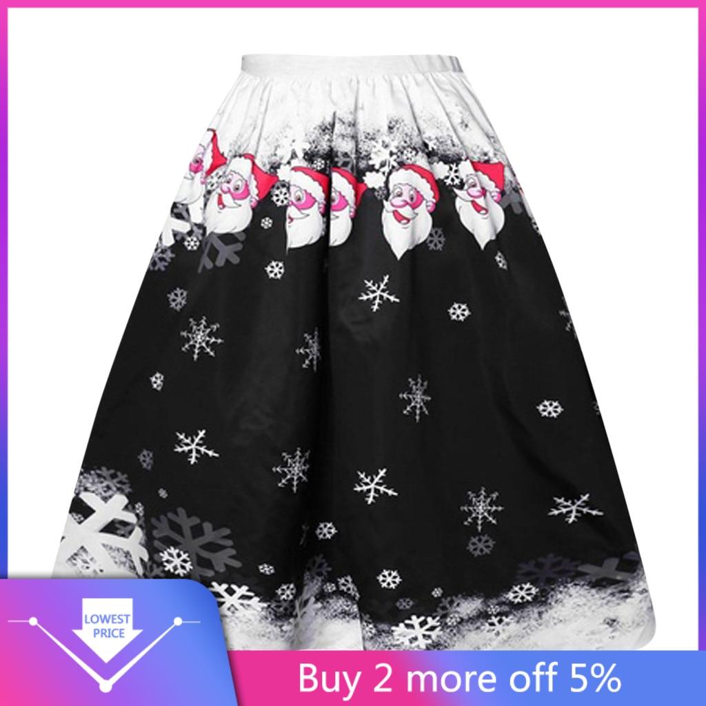 2020 Hot Sale Women Christmas Print Skirts Falda Fashion Christmas Santa Claus Snow Printing Casual Skirts Ropa Mujer #C11