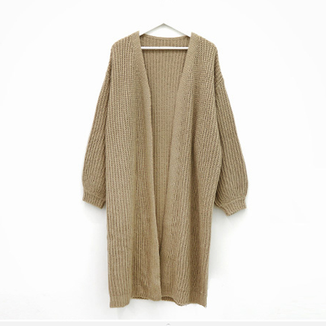 Sungtin Casual Long Knitted Cardigan Women Vintage Black Loose Sweater Coat Solid Oversized Jumper Outwear Autumn Winter 3 Color 5
