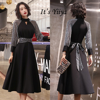 It's Yiiya Black Evening Gown High Collar Sequined Plus Size Evening Dresses for Women Long Sleeve Cut-out Evening Dresses K323