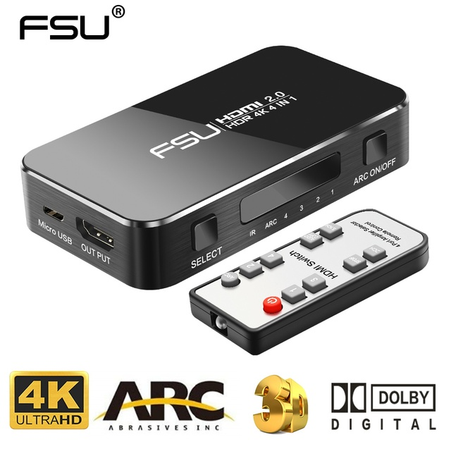 Fsu Hdmi Splitter 4 Ingang 1 Uitgang Hdmi Switch Hdr 4X1 Voor Hdtv PS4 4K Met Audio extractor 3.5 Jack Arc Hdmi Switcher Adapter