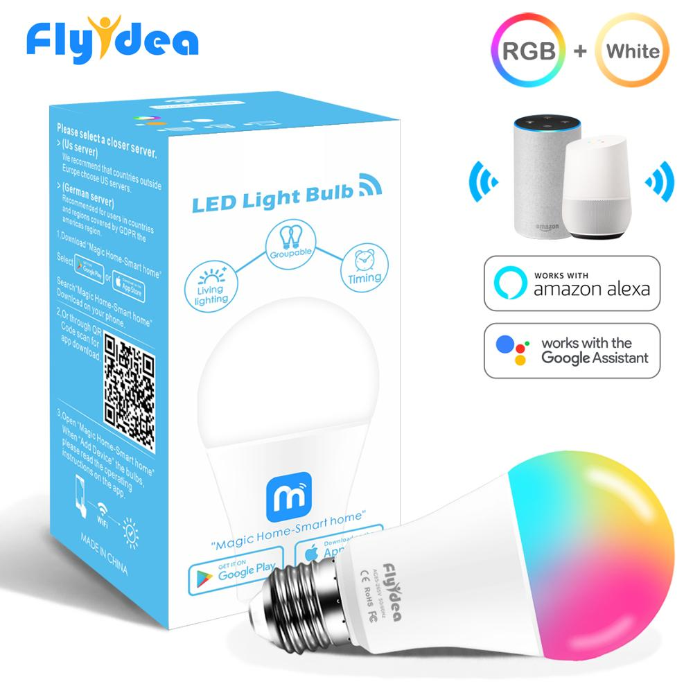 Color Changing E27 15W WiFi LED Lamp Magic Smart Light Bulb  Compatible With Alexa Google Assistant Convenient Grouping Control