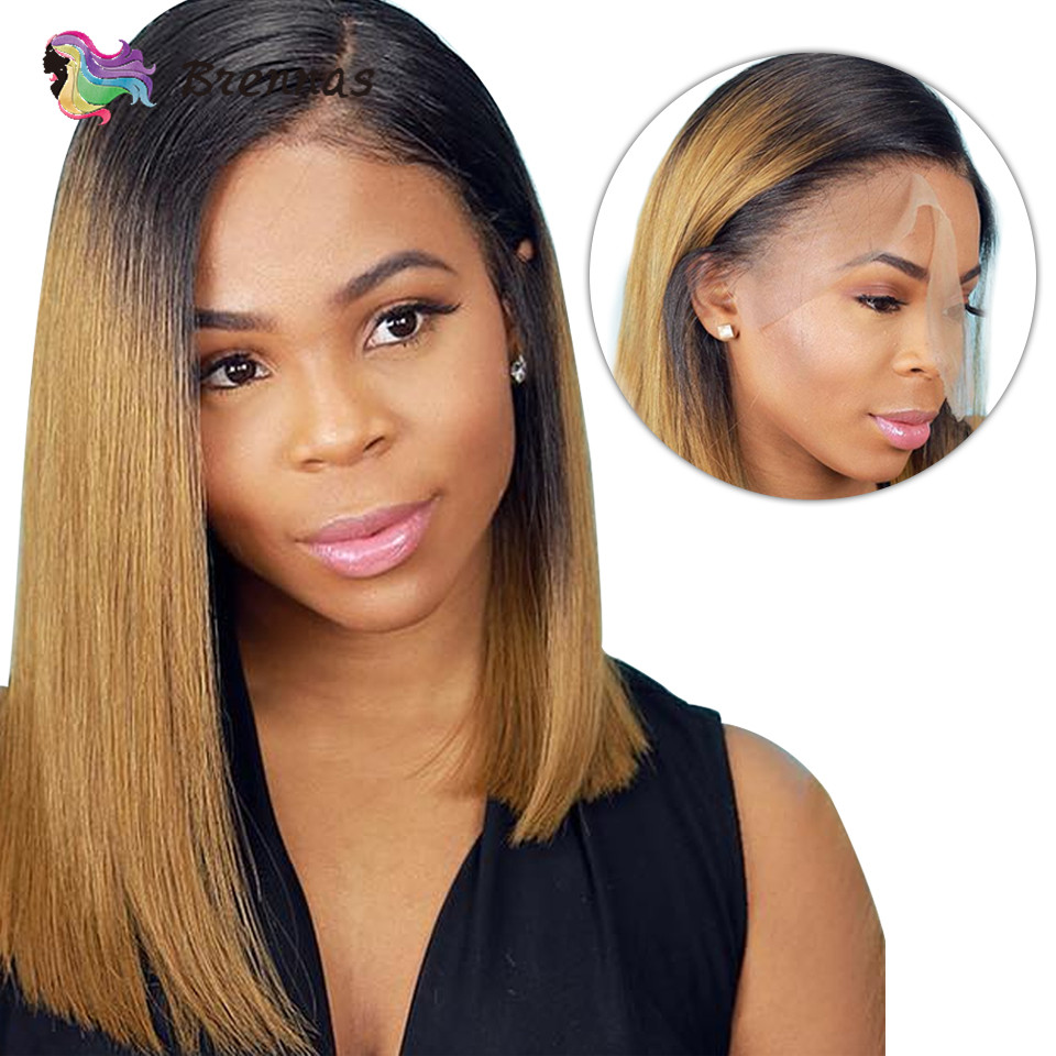 Bob Lace Front Human Hair Wigs Brazilian Hair Straight Bob Wig Side Part 13X4 Lace Wig Ombre 1b27 Brown Non-Remy 150% D Brennas