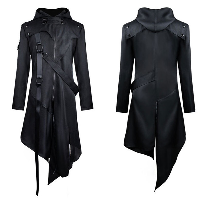 Vintage Punk Custome Cosplay Jackets Gothic Belt Swallow-Tail Coat Long Sleeved Vintage Halloween Long Uniform Men Outfit