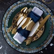 Dinnerware Set Retro Cutlery Sets 304 Stainless Steel Golden Silver Metal Knife Fork Dinner Set Western Wedding