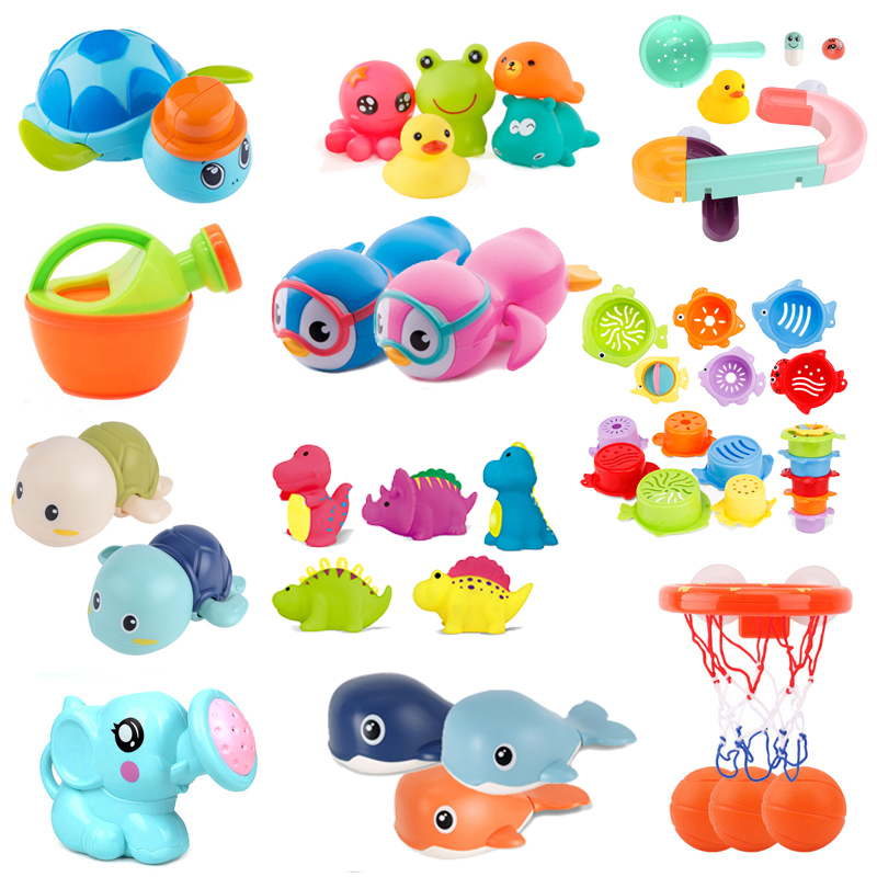 Cute Cartoon Baby Bath Toys Animal Tortoise Classic Baby Water Toy Infant Bathroom Clockwork Toy Educational Kids Beach Bath Toy