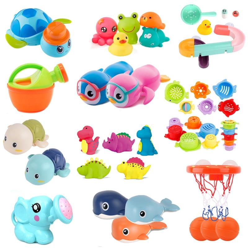 Cute Cartoon Baby Bath Toys Animal Tortoise Classic Baby Water Toy Infant Bathroom Clockwork Toy Educational Kids Beach Bath Toy