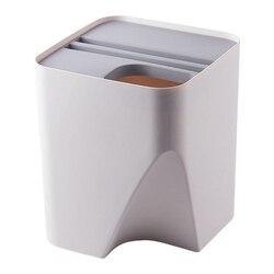 Kuchenny kubeł na śmieci ułożone sortowanie kosz na śmieci pojemnik na surowce wtórne gospodarstwa domowego oddzielne kieszenie na suche i mokre rzeczy kosz na śmieci kosz na śmieci do łazienki Gr w Kosze na śmieci od Dom i ogród na