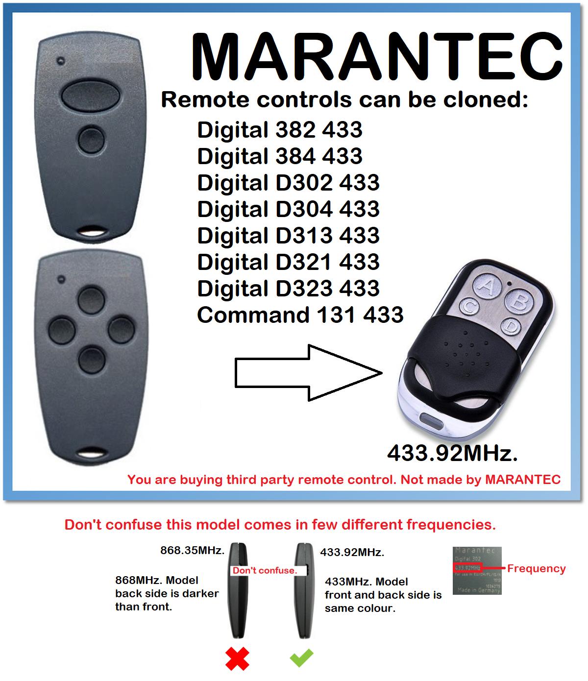 Marantec Digital D302, D304 433 Universal Remote Control Duplicator 433.92MHz Fixed Code