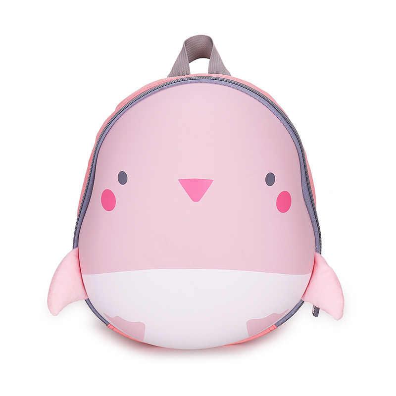 Модные 3D Мультяшные животные розовый пингвин детские школьные сумки для девочек
