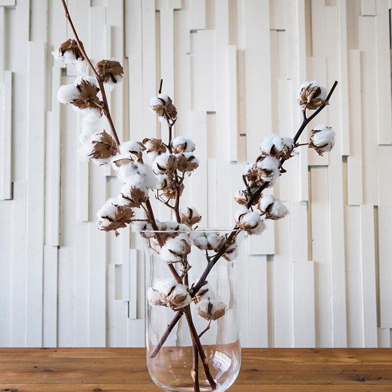 1 букет сушеных хлопковых цветов, натуральный хлопковый цветочный букет «сделай сам» для дома, свадьбы, Рождества, украшение стола, Осенний ...