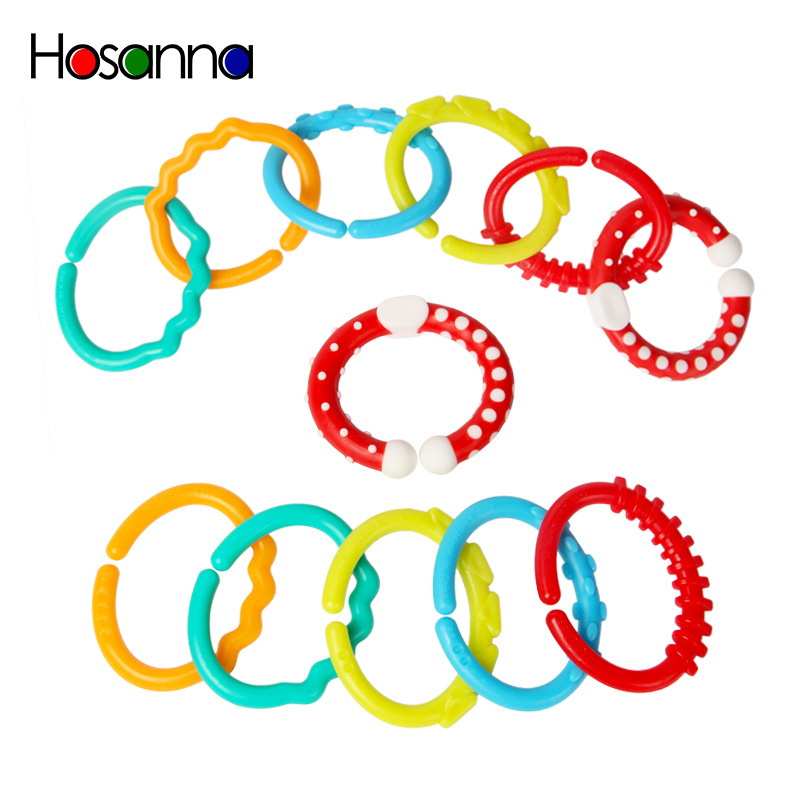 6 Pieces Textured Teething Baby Toy Links Loops For Children Baby Rattles 6-12 Month Stroller Hanging Crib Mobile Newborns