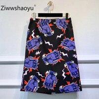 Ziwwshaoyu Fashion Brand Autumn Cotton Skirt Women Modern Printed Black High Waist Knee Length Skirt Female