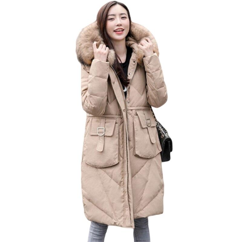Grande taille vers le bas coton veste femmes ample longue doudoune hiver femmes à capuche col de fourrure décontracté Parkas pardessus 50/120 kg 6XL