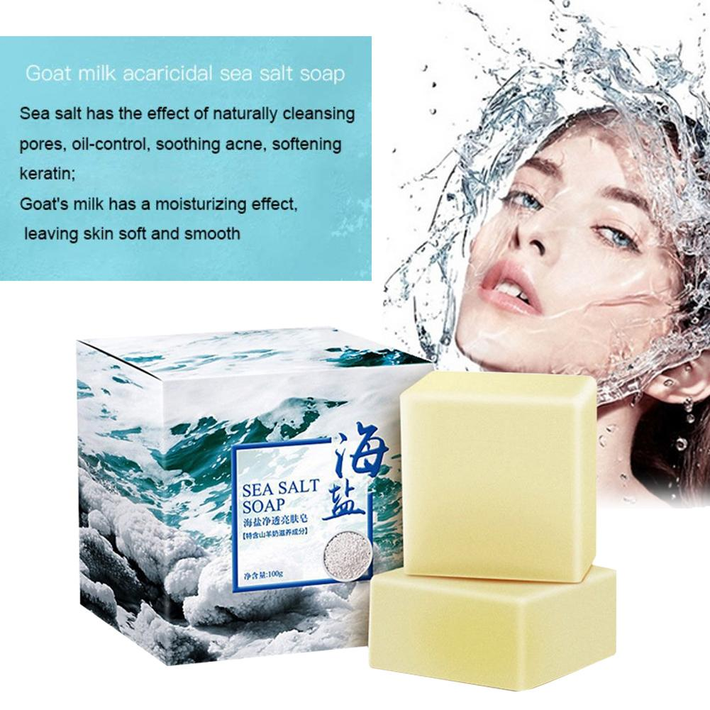 1pcs Sea Salt Soap Oil Control Face Washing Cream Cleansing Oil Soap for Dry Natural Oily Skin image