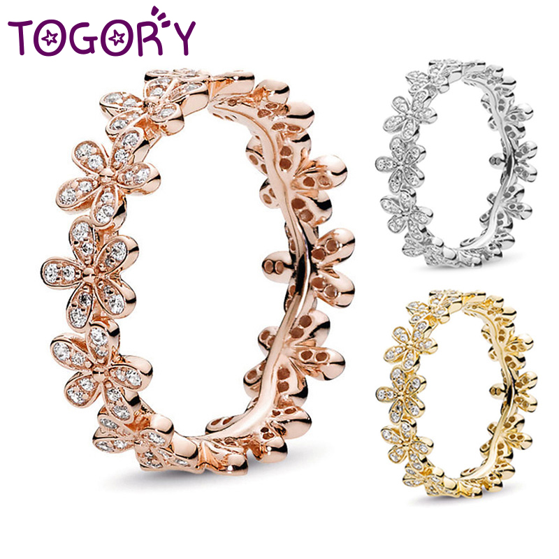 Hot Fashion Rose Gold Color Dazzling Daisy Meadow Stackable Rings For Women Compatible With Original Fine Ring Luxury Gift