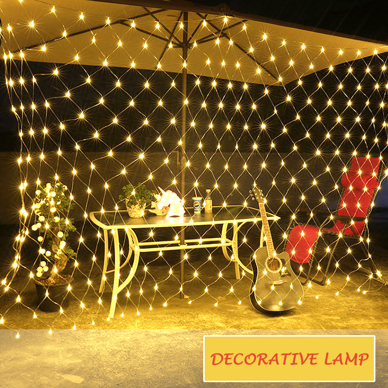 Christmas Decoracion LED Outdoor Net Lights Fishing Net Lights String Xmas Party Garden Wedding Curtain Outdoor Led Fairy Lights