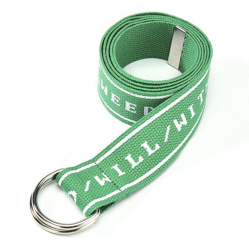 TagerWilen ремень стиль буквы напечатаны мода унисекс двойное D Кольцо холст ремень длинные джинсы ремни для женщин брезентовый мужской ремень - Цвет: Weded-Green