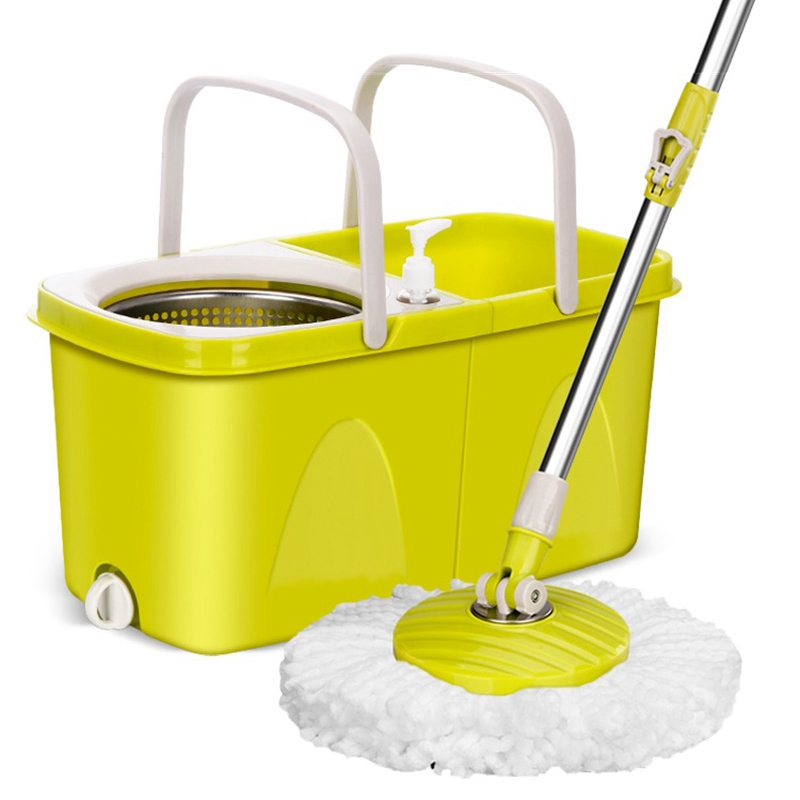 Floor Mop With Metal Bucket Automatic Clean and Dry Mop Wiring Mop Spin Bucket Magic Flat Mop Bathroom Household Cleaning Tools