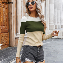 Woman Sweaters Autumn Spring Clothes Women Brown Patchwork Knitted Pullover Sweater Tops For Women Fall Clothing 2020 Knitwear