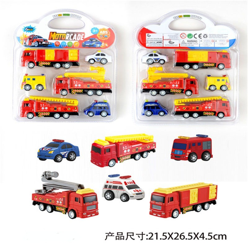 Children Boy Toy Warrior Fire Truck Model Aerial Ladder Truck Sprinkler Truck Ambulance Police Car Toy