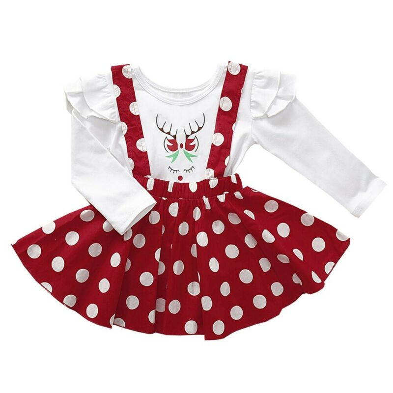 Christmas toddler kid clothes suit long sleeve cartoon elk print top+ polka dot <font><b>bib</b></font> <font><b>skirt</b></font> 2pcs Christmas party girl suit image