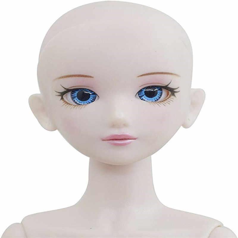 2019 yeni 30cm hareketli eklemli bjd bebekler oyuncaklar sevimli 3D büyük gözler uzun peruk gerçek kirpik çıplak bebek kafası vücut yılbaşı kız hediye