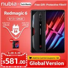 Versão global nubia red magic 6 5g jogos smartphones snapdragon 888 redmagic telefone móvel 5050mah google play 30w carga super