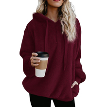 2019 New Oversized Hoodie Sweatshirt Winter Coat Women Long Sleeve Hooded Womens Velvet Jackets Down Woman