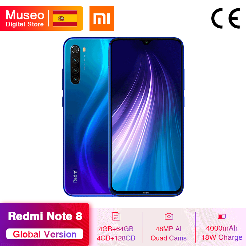 Gloabl Version Xiaomi Redmi Note 8 4GB 128GB 48MP Quad Cams Smartphone Snapdragon 665 Octa Core 6.3