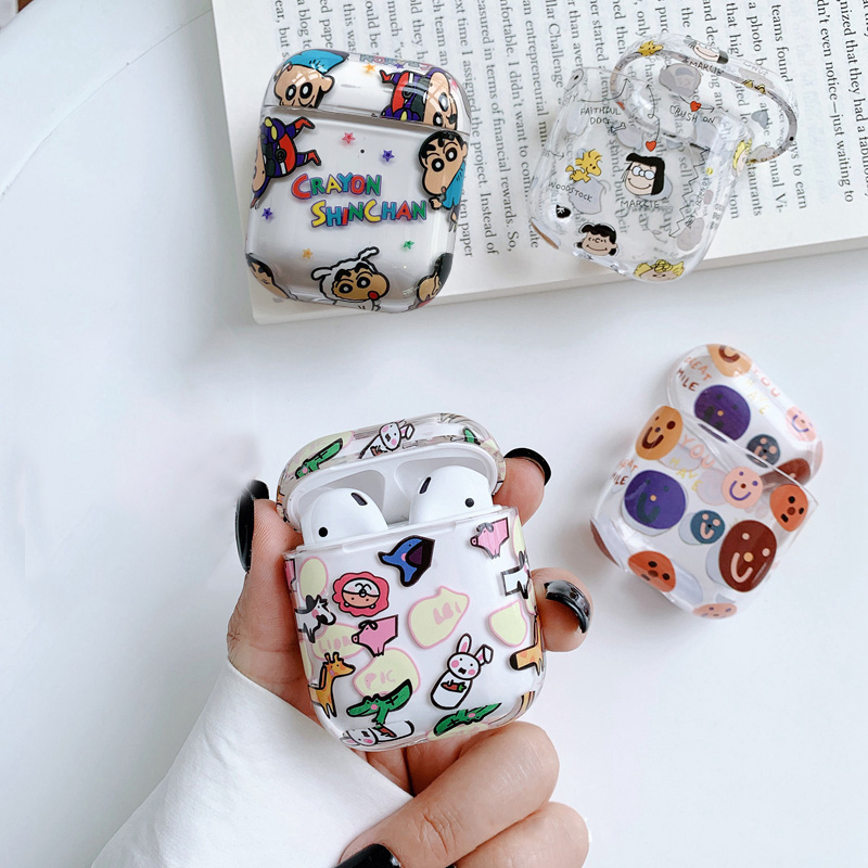 Luxury Cartoon Transparent hard For AirPods case Bluetooth Earphone Accessories for Air pods 2 Case Fashion Charging box case