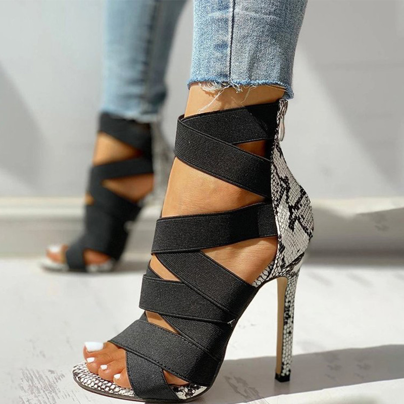 Women's Sandals Snake Print High Heels Summer Rome Zipper Pumps Sexy Gladiator Stilettos Ladies Female Shoes Sandalias Mujer New
