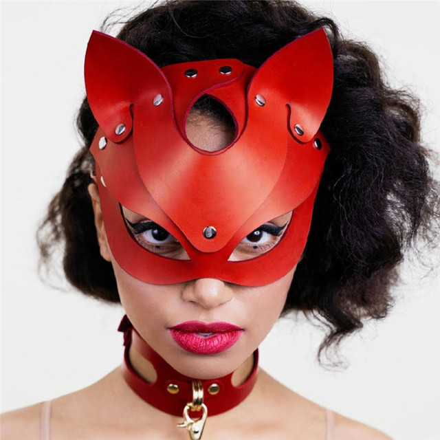 High Quality Half Face Cat Masks For Women Faux Leather Bandage Head Mask Accessories Party Cosplay Punk Black Adjustable Masks 2