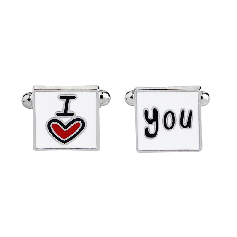 New Fashion Cufflink Men I Love You Design Good Husband Cuff Link Men Shirt Charm Zinc Alloy Cufflinks Wholesale Jewelry in Tie Clips Cufflinks from Jewelry Accessories