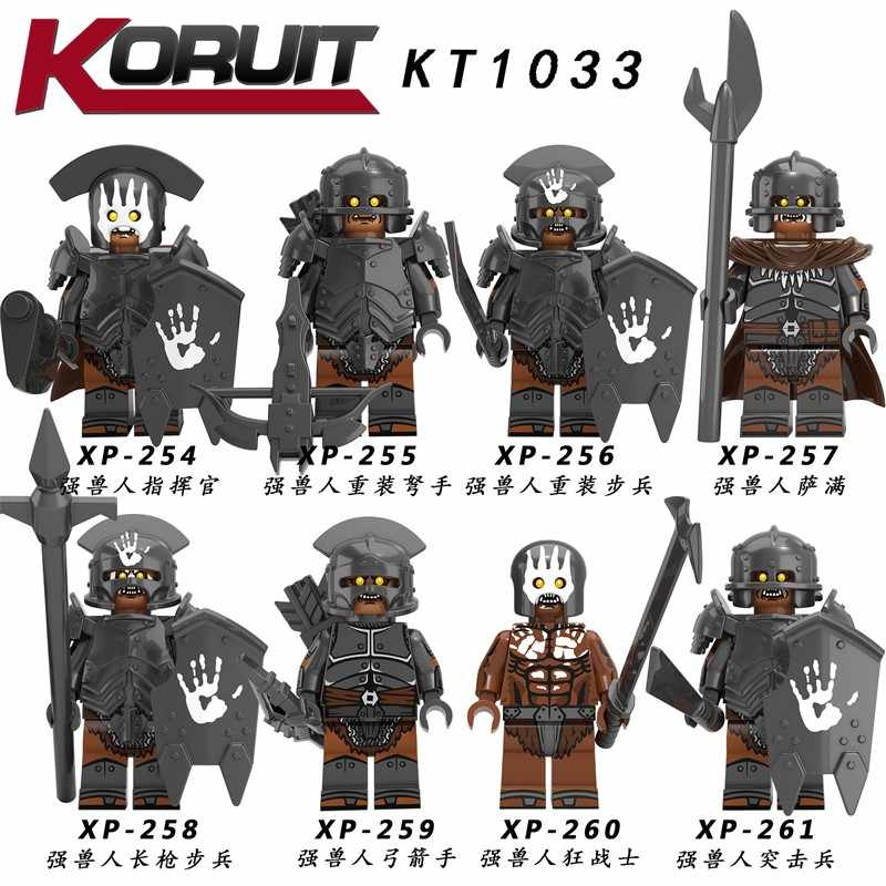 8PCS Lord of the Rings Action FigureStrong Orc ทหาร Heavy Infantry Spear อาคารบล็อกของเล่น forodels ของเล่น KT1033