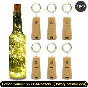 Image 1 - 6 Pcs Wein kork Lichter mit 20 LED Silber Kupfer Draht Girlande Fee String Lichter für Home Party Weihnachten Hochzeit dekoration