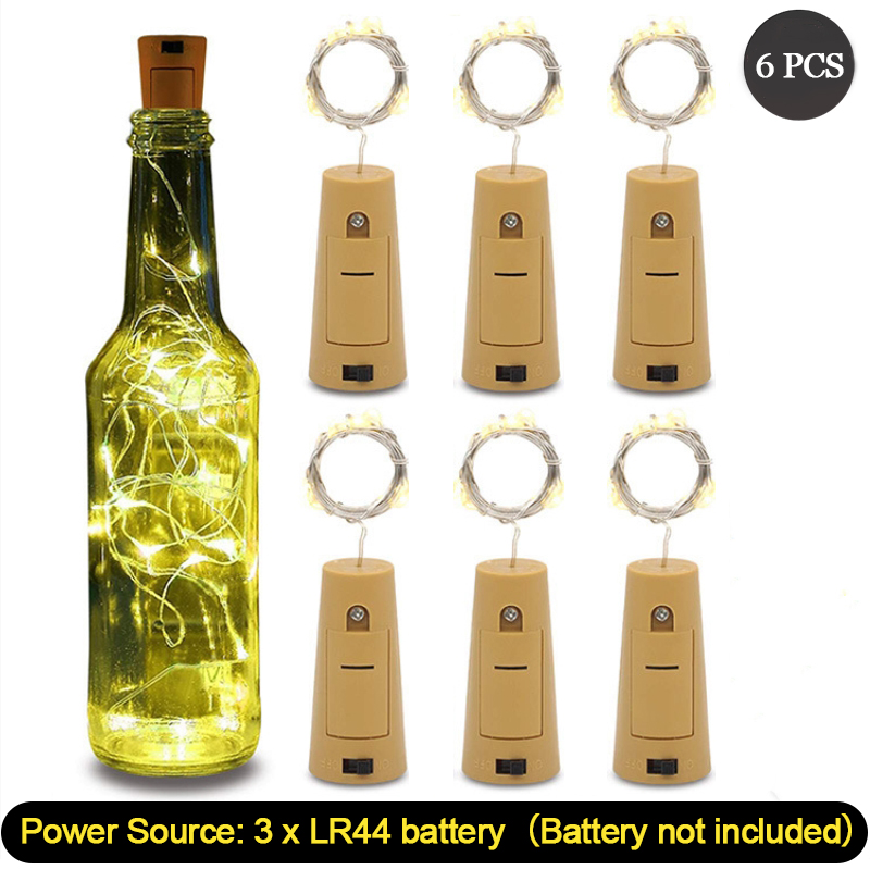 6 Pcs Wine Cork Lights With 20 LED Silver Copper Wire Garland Fairy String Lights For Home Party Christmas Wedding Decoration