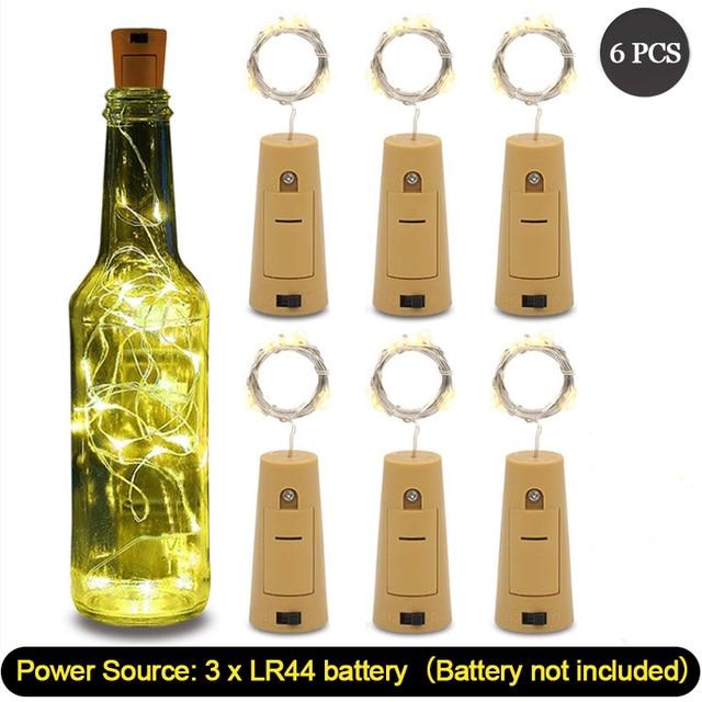 Corda de luzes de vinho com 20 leds, 6 peças, fio de cobre prateado, luzes para festa em casa, casamento decoração